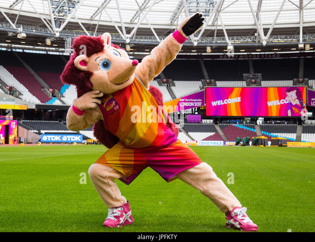 London, UK. 01st Aug, 2017. Official mascot for the IAAF World Championships London 2017 Hero the Hedgehog gets - Stock Image