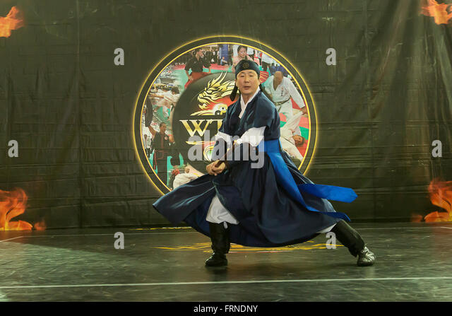 Sippalki Martial Art of Korea at the Budo Festival in Turin,Italy,managed by the WTKA, World Traditional Karaté - Stock Image