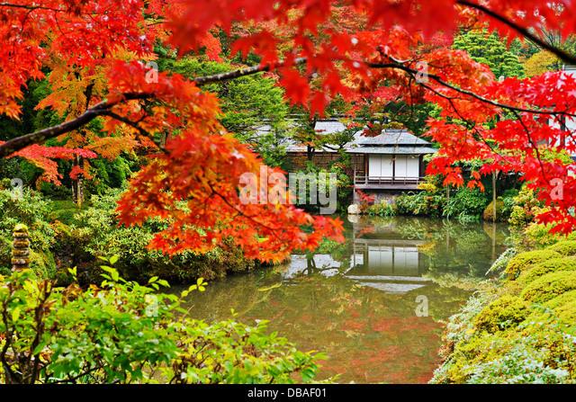 Japanese garden in Nikko, Japan. - Stock Image
