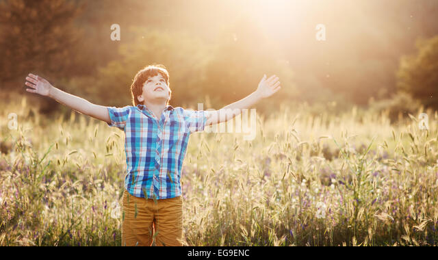 Boy (8-9) in meadow with arms outstretched looking up - Stock-Bilder