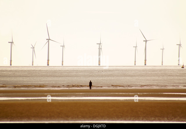 A view of Crosby beach. - Stock Image