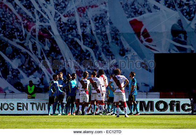 SPAIN, Madrid: Several player of Rayo Vallecano and Sevilla FC during the Spanish League 2014/15 match between Rayo - Stock Image