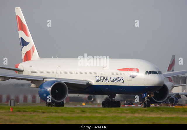 British Airways Boeing 777-236/ER at London Heathrow Airport - Stock Image