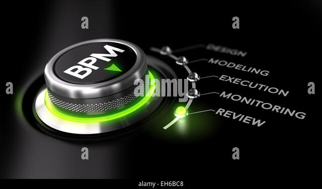 Business Process Management concept. BPM switch wit green light - Stock Image