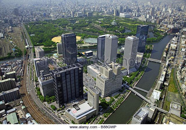 Osaka Castle Osaka business park Neya River JR Osaka Kanjo Line Osaka Osaka Kinki Japan - Stock Image