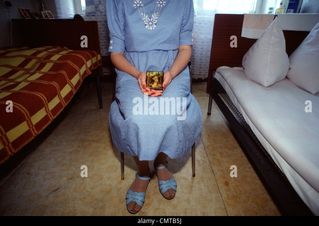 Young HIV positive woman isolated at a medical clinic in Moscow, Russia in 1992. - Stock Image