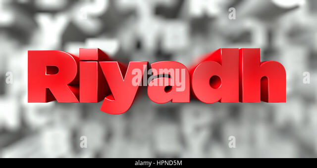 Riyadh -  Red text on typography background - 3D rendered royalty free stock image. This image can be used for an - Stock Image