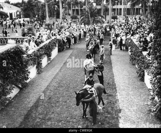 Hialeah Racetrack Paddock Parade, 1940 - Stock Image