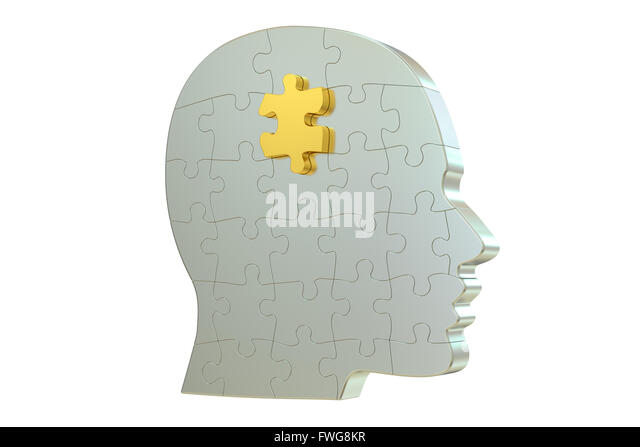 head puzzle, 3D rendering  isolated on white background - Stock Image