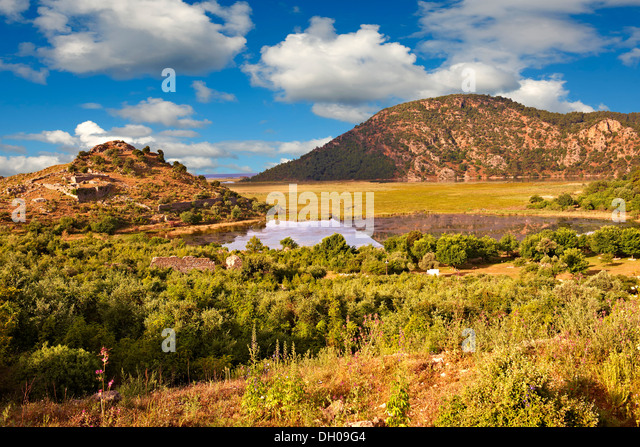 Silted up harbour at the Archaeological site of Kaunos (Caunos), Dalyan Turkey - Stock Image