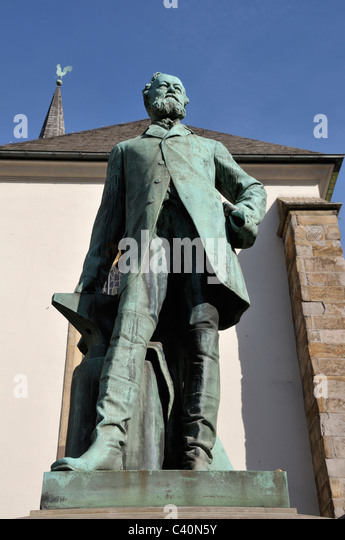Alfred, bronze figure, monument, Germany, inventor, creator, Europe, Krupp, personality, statue - Stock Image