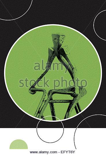 Metallic sculpture of person on bicycle retro illustration - Stock-Bilder