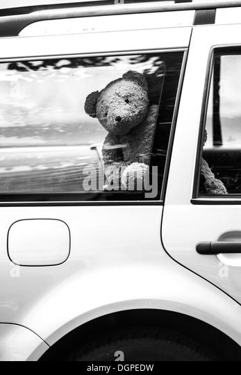 Germany, Berlin, Teddy bear in car - Stock Image