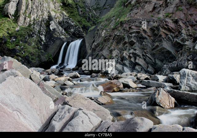 Spekes Mill Mouth waterfall near Hartland Quay North Devon - Stock Image