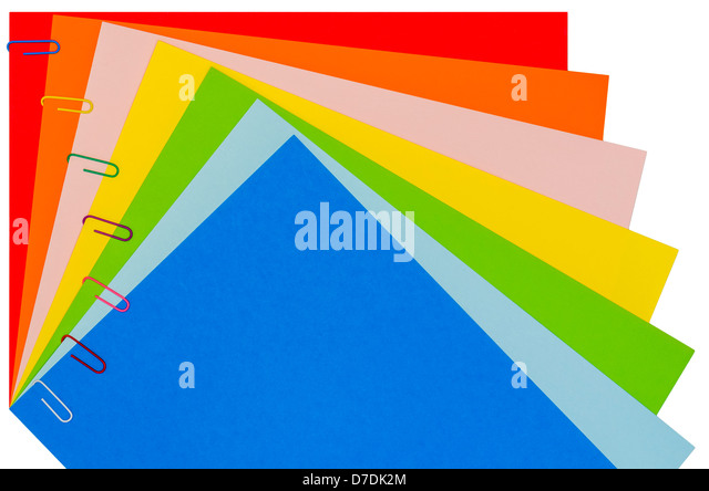 Rainbow Stationery With Paper-Clips 02 - Stock Image