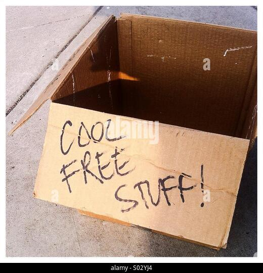 Box of cool free stuff - Stock-Bilder