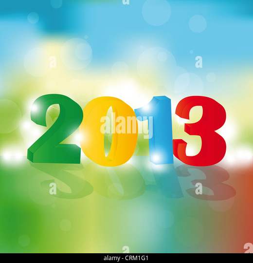 Cute and colorful card on New Year 2013 - Stock Image