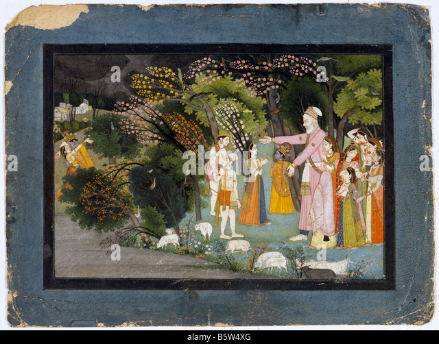 Nanda asking Radha to escort Krishna back home. Gita Govinda. Garhwal late 18th century. National Museum of New - Stock Image