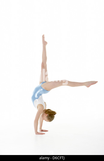 girl,gymnastics,acrobatics,hand stand - Stock Image