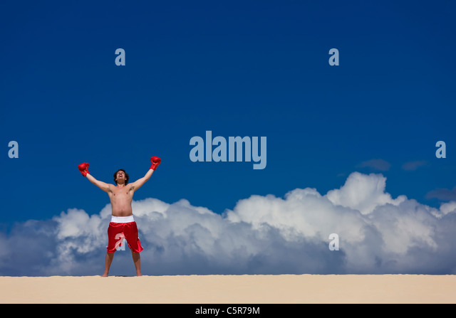 A Boxer celebrates being on top of the World. - Stock Image