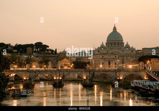 St Peter's Basilica and Ponte Sant Angelo, Rome, Italy - Stock Image