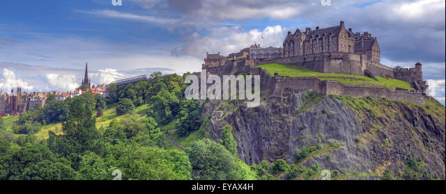 Edinburgh Castle with Dramatic sky, Old Town, Scotland - Unesco world heritage site, UK in Summer Panorama - Stock Image