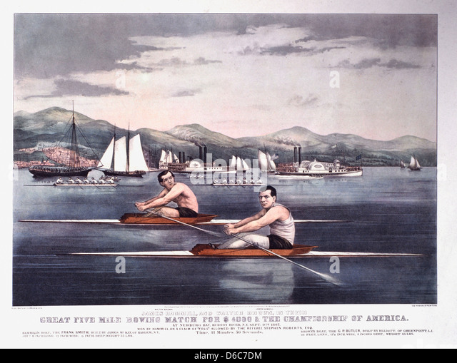 Great Five Mile Rowing Match for $4000 and the Championship of America, Hudson River, New York, Currier & Ives, - Stock Image