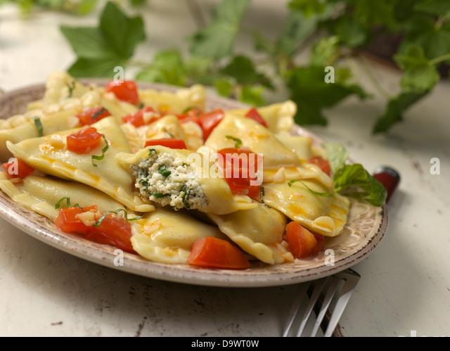 plate of ravioli - Stock Image
