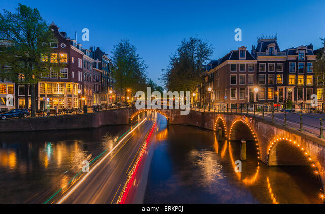 An evening at the canals near the Keizersgracht at Amsterdam, the Netherlands. - Stock Image