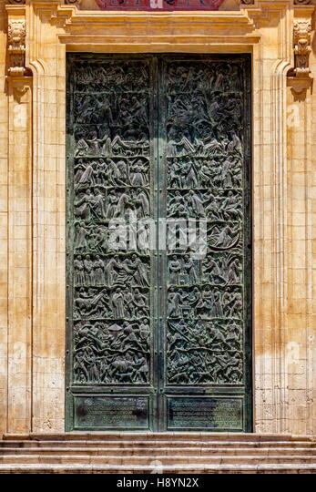 Doors of the 18th century Noto Cathedral in Noto, Sicily, Italy - Stock Image