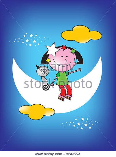 Boy Sitting On The Moon - Stock-Bilder