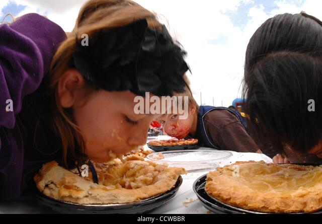 May 22, 2010 - Irvine, California, USA -  Pie eating contest at the 24th annual AIDS Walk in Orange County. Over - Stock Image