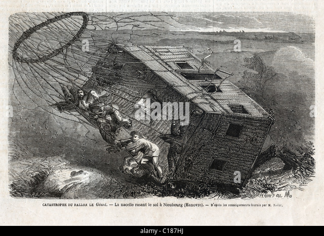 Disaster of the balloon 'Le Géant' at 'Nieubourg' near in 1863. - Stock-Bilder