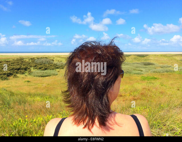 Rear view of woman looking at beach - Stock Image
