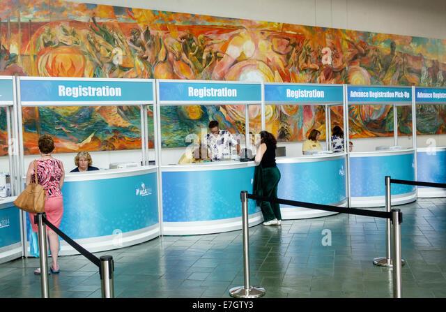 Hawaii Hawaiian Oahu Honolulu Convention Center centre inside interior mural art registration booth - Stock Image