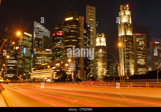 Night scene at financial district in Singapore - Stock Image