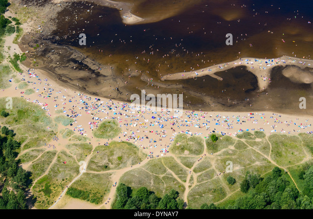 Aerial view of beach with people - Stock Image