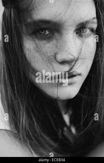 Russia, Portrait of teenage girl (14-15) - Stock Image