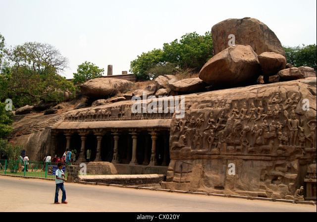 Mahabalipuram Arjuna Penance Stone carved Monument world Largest stone bas relief (UNESCO World Heritage site) Tamil - Stock Image