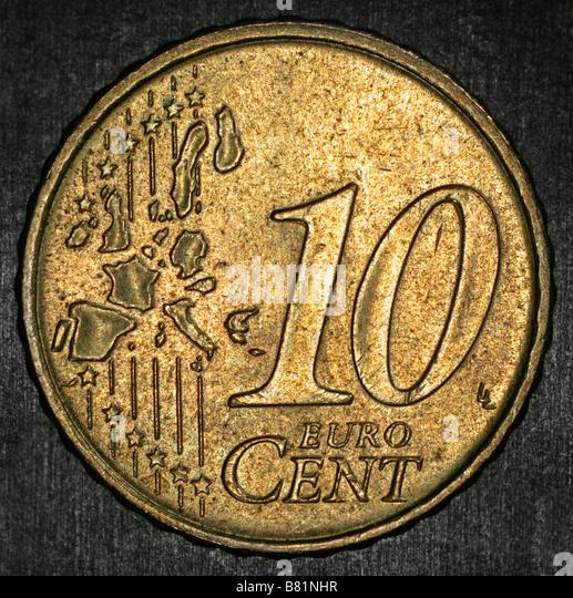 Ten Euro cents coin axial illumination - Stock Image