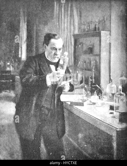 Illustration depicting scientist Louis Pasteur at work in his laboratory, staring at a beaker with a look of intense - Stock Image