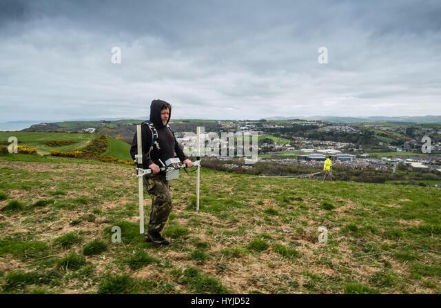 Aberystwyth Wales UK, Wednesday 05 April 2017   Archaeology in the UK : Archaeologists from Archaeology  Wales making - Stock Image