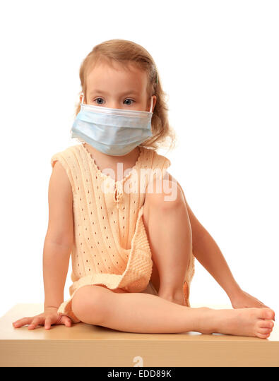 Girl is in medical mask. - Stock Image