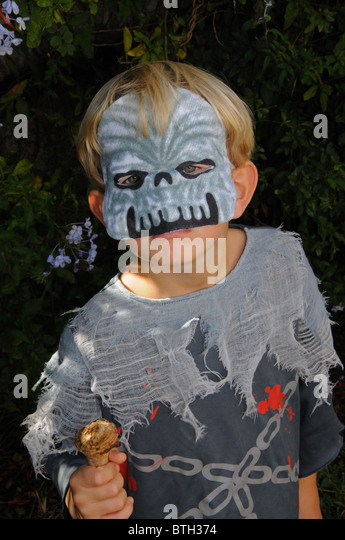 Boy dressed as a Zombie/Ghoul for Halloween, Mijas Costa, Costa del Sol, Malaga Province, Andalucia, Spain, Western - Stock Image