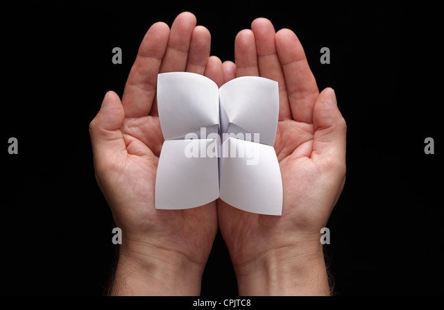 Origami fortune teller with blank choices - Stock Image