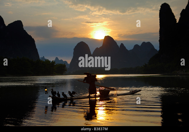 Cormorant Fisherman in the Lijang Li River Xingping Guilin province China. model release 701 - Stock Image