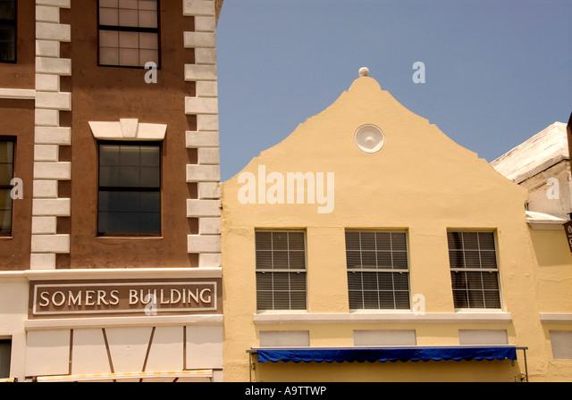 Bermuda pink building Hamilton Front Street - Stock Image
