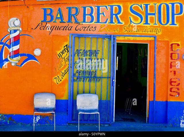 Barber shop in Palomas, Mexico - Stock Image