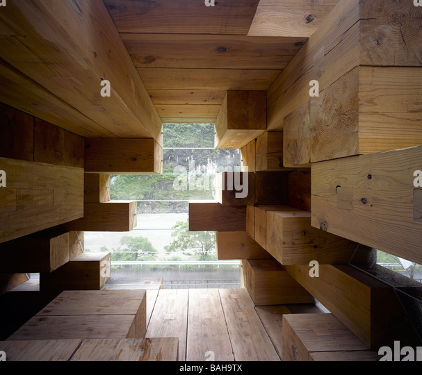 Final Wooden House, Kumamoto, Japan, Sou Fujimoto Architects, Final wooden house interior views. - Stock Image