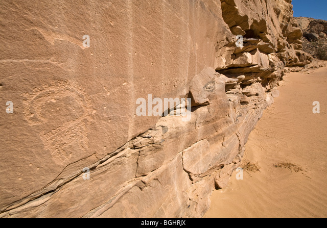 View along sandy wadi floor showing rock-Art of Ibex in the Eastern Desert of Egypt. - Stock Image